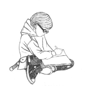 Image of a young person writing in a corner
